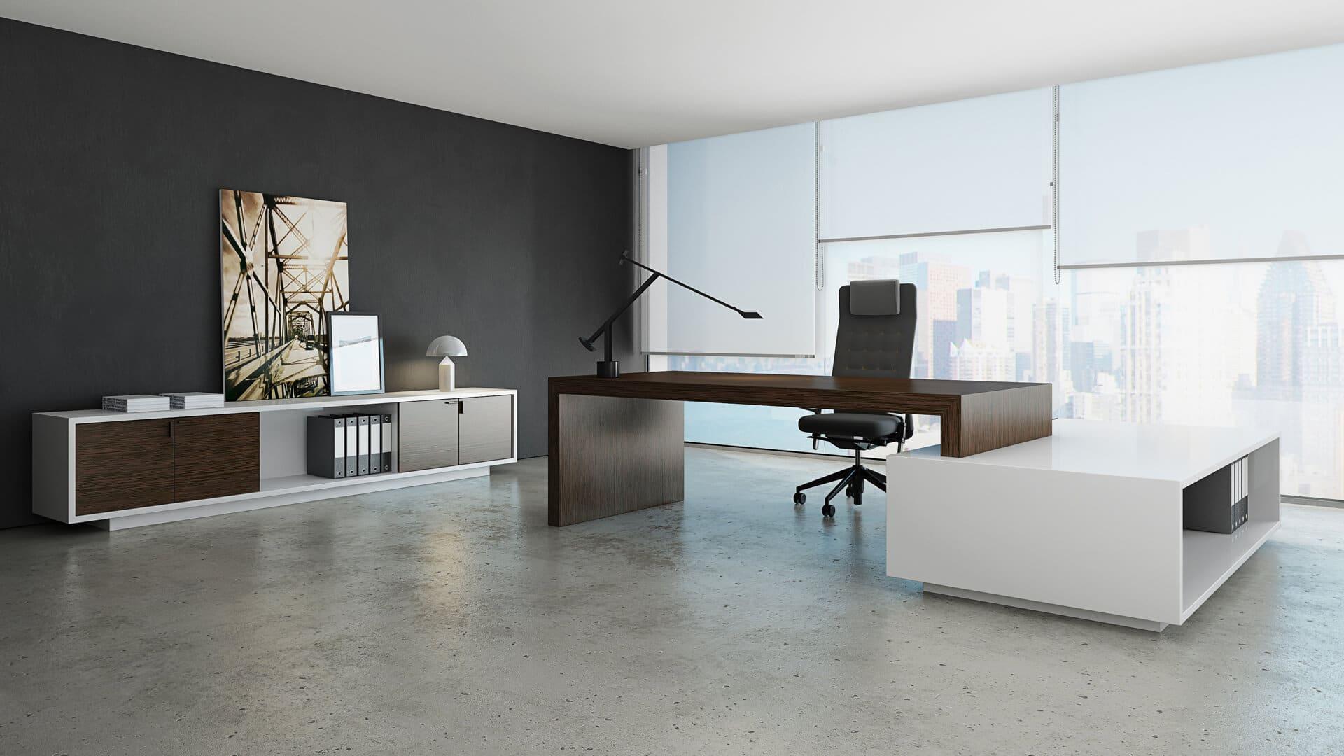 Mesa de dirección para despachos de oficina madera modelo Erys