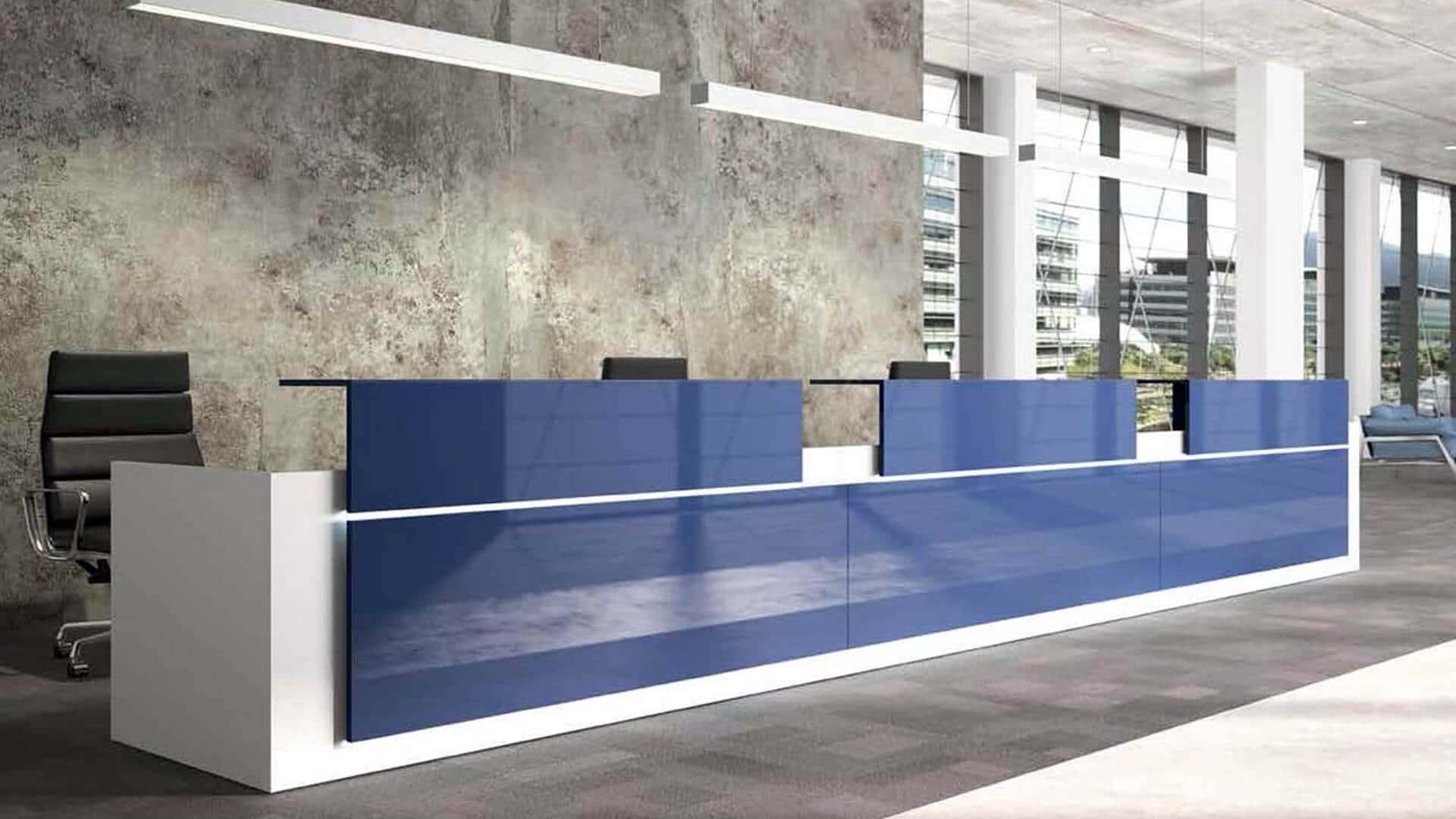 Mostrador de Recepción Avant acabado Azul