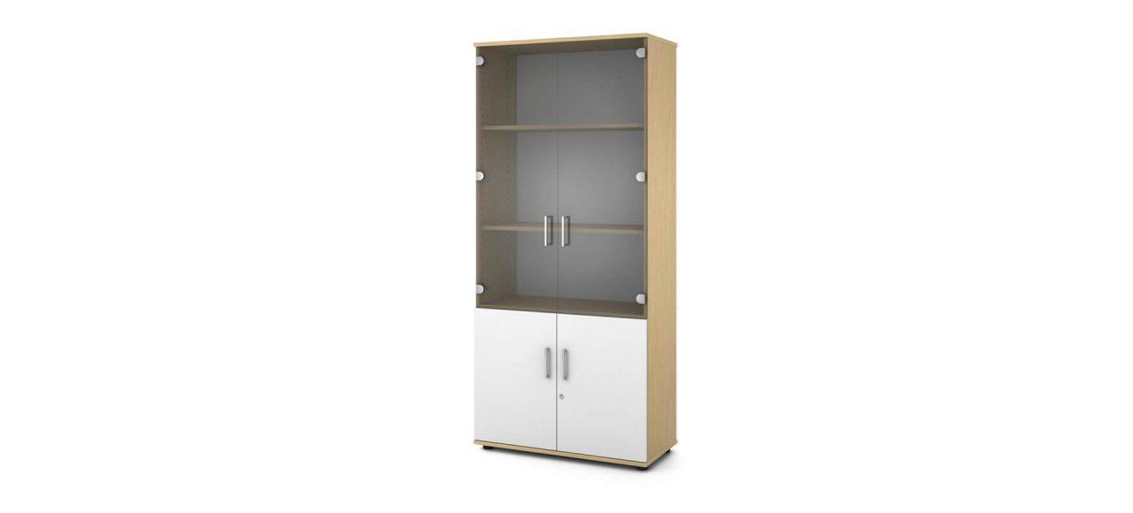 Armario alto en madera laminada abierto y con dobles puertas