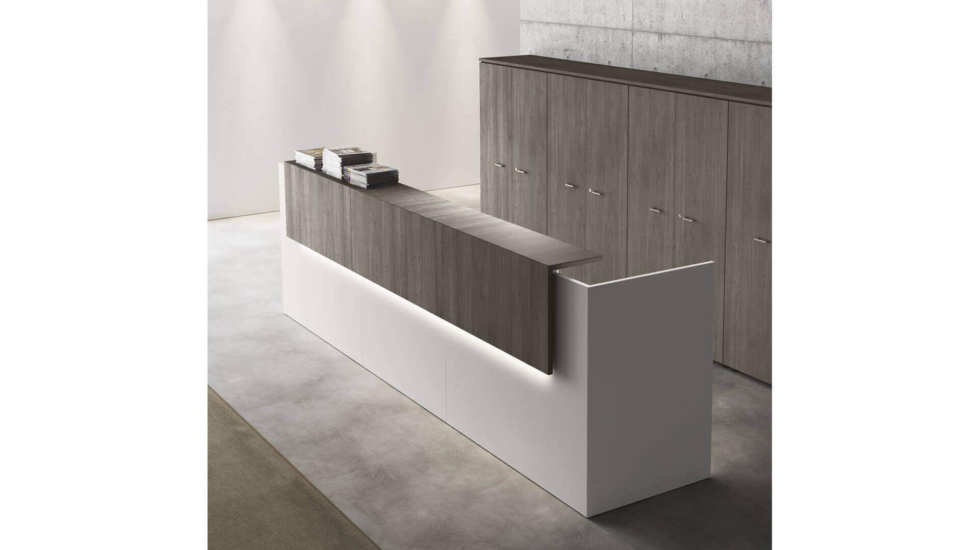 Mostrador de recepción modular y minimalista