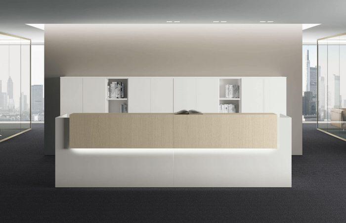 Mueble de recepción modular y operativo para empresas