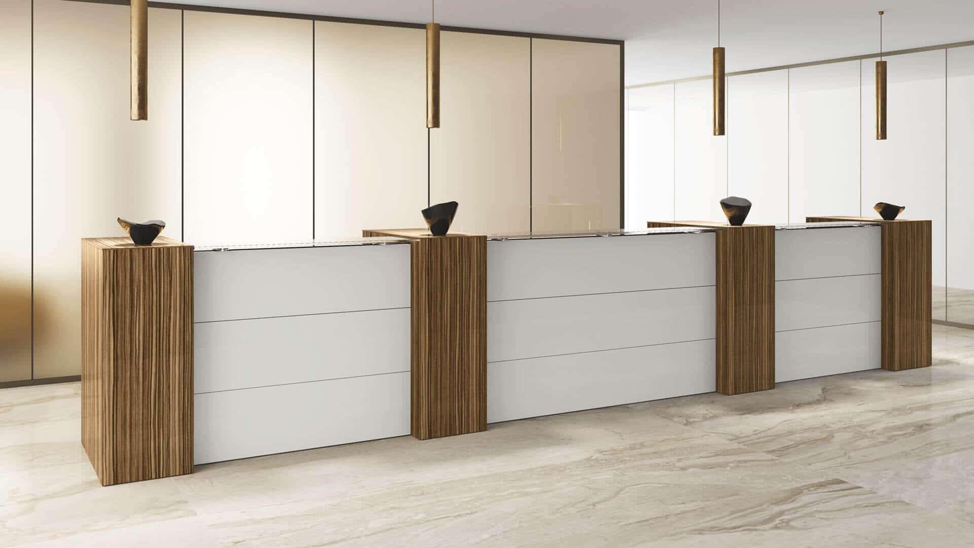 Mueble de recepción madera y blanco modular