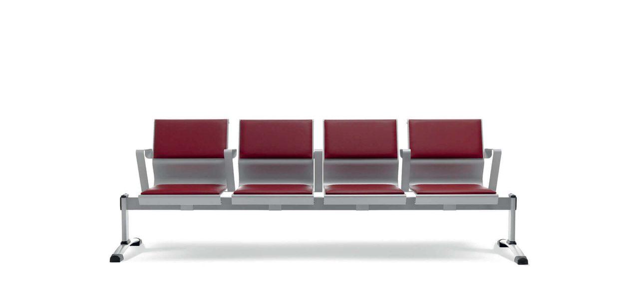 Bancada de 4 asientos para espera