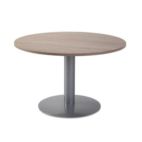 Mesa de reuniones redonda de madera y aluminio